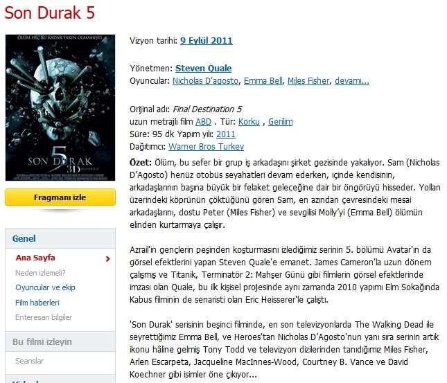 Son Durak 5 - 2011 BRRip XviD - Türkçe Dublaj Tek Link indir